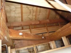 小屋裏の雨漏り被害